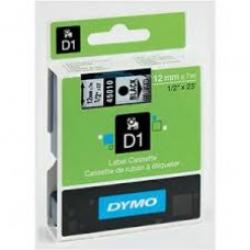 12MM X 7M Dymo D1 Tape Black On Clear