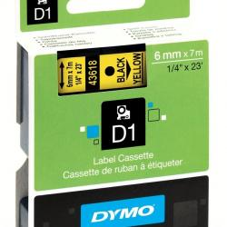 6MM X 7M Dymo D1 Tape Black on Yellow