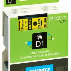 24mm X 7 DYMO D1 Tape Black on Yellow