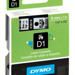 6MM X 7M DYMO D1 TAPE BLACK on WHITE