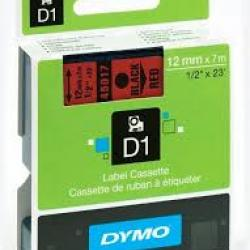 12MM X 7M Dymo D1 Tape Black on Red